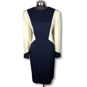 Vintage Long Sleeve Colorblock Navy Sheath Dress 6